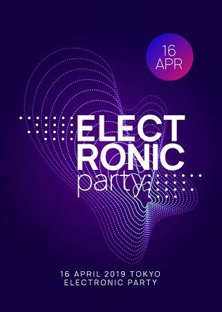 Dj party. Dynamic gradient shape and line. Trendy discotheque brochure template. Neon dj party flyer. Electro dance music. Techno trance. Electronic sound event. Club fest poster.