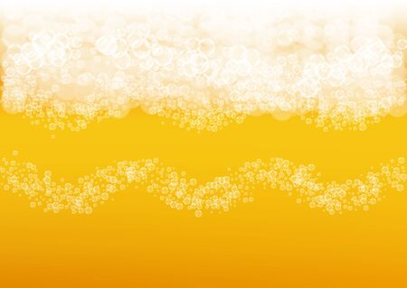 Craft beer background. Lager splash. Oktoberfest foam. Festive pint of ale with realistic white bubbles. Cool liquid drink for pub banner template. Yellow bottle with craft beer background.