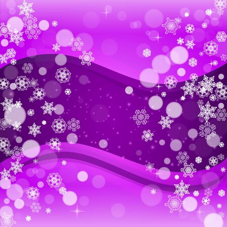 Snowflake border with ultraviolet snow. New Year backdrop. Winter frame for flyer, gift card, invitation, business offer and ad. Christmas trendy background. Holiday banner with snowflake border Illustration