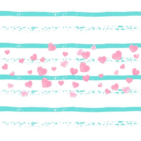 Wedding glitter confetti with heart on turquoise stripe. Shiny random sequins with metallic sparkles. Design with pink wedding glitter for party invitation, banner, greeting card, bridal shower.