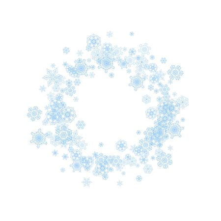 Winter frame with blue snowflakes for Christmas and New Year celebration. Holiday winter frame on white background for banners, gift coupons, vouchers, ads, party events. Falling frosty snow.