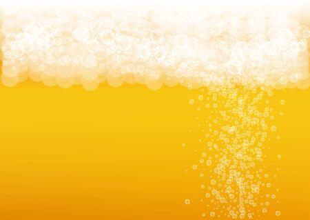 Splash beer. Background for craft lager. Oktoberfest foam. pub menu layout. German pint of ale with realistic white bubbles. Cool liquid drink for Orange bottle with splash beer.