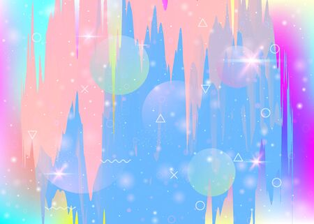 Future landscape with holographic cosmos and abstract universe background. Kawaii mountain silhouette with wavy glitch. 3d fluid. Futuristic gradient and shape. Memphis future landscape. Illusztráció