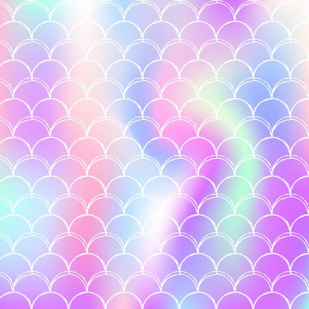 Mermaid scales background with holographic gradient. Bright color transitions. Fish tail banner and invitation. Underwater and sea pattern for girlie party. Retro backdrop with mermaid scales.