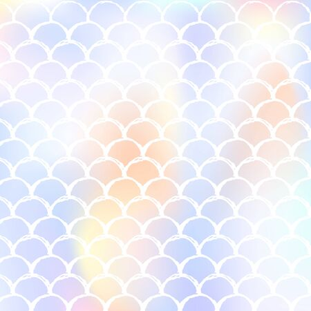 Holographic scale background with gradient mermaid. Bright color transitions. Fish tail banner and invitation. Underwater and sea pattern for girlie party. Rainbow backdrop with holographic scale.