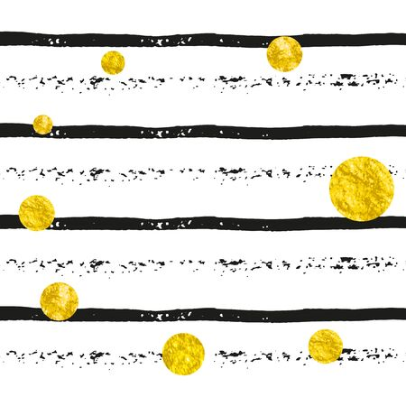 Gold glitter dots confetti on black stripes. Falling sequins with shimmer and sparkles. Design with gold glitter dots for party invitation, banner, greeting card, bridal shower.