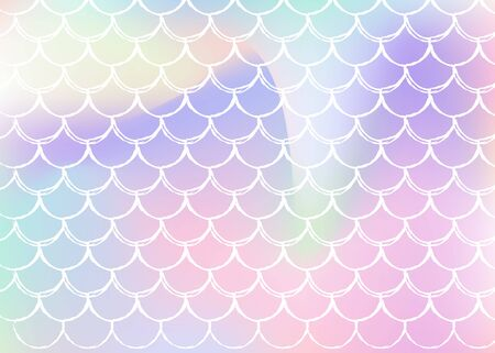 Mermaid scales background with holographic gradient. Bright color transitions. Fish tail banner and invitation. Underwater and sea pattern for girlie party. Iridescent backdrop with mermaid scales.