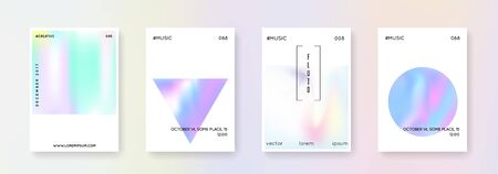 Holographic cover set. Abstract backgrounds. Bright holographic cover with gradient mesh. 90s, 80s retro style. Iridescent graphic template for brochure, banner, wallpaper, mobile screen