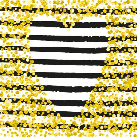Gold glitter dots confetti on black stripes. Falling sequins with shimmer and sparkles. Template with gold glitter dots for party invitation, event banner, flyer, birthday card. Illusztráció