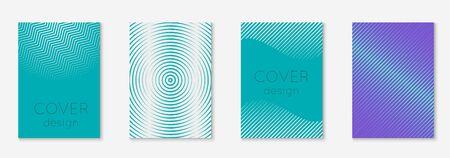 Set brochure. Blue and purple. Minimal web app, report, certificate, folder layout. Set brochure as minimalist trendy cover. Line geometric element.