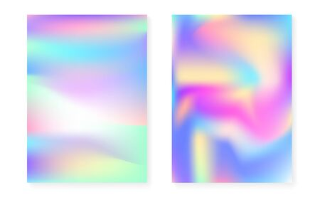 Holographic gradient background set with hologram cover. 90s, 80s retro style. Pearlescent graphic template for placard, presentation, banner, brochure. Hipster minimal holographic gradient. Illusztráció
