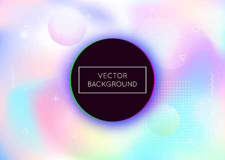 Holographic background with liquid shapes. Dynamic bauhaus gradient with memphis fluid elements. Graphic template for book, annual, mobile interface, web app. Retro holographic background. Illusztráció