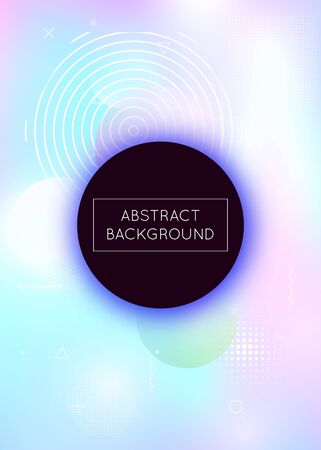 Liquid shapes background with dynamic fluid. Holographic bauhaus gradient with memphis elements. Graphic template for placard, presentation, banner, brochure. Trendy liquid shapes background.