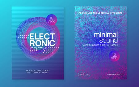 Dj event. Bright show magazine set. Dynamic fluid shape and line. Dj event neon flyer. Techno trance party. Electro dance music. Electronic sound. Club fest poster.