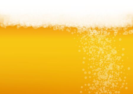 Splash beer. Background for craft lager. Oktoberfest foam. bar banner layout. Froth pint of ale with realistic white bubbles. Cool liquid drink for Golden mug with splash beer.