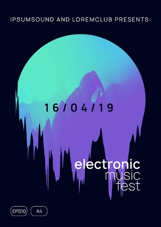 Music flyer. Fluid holographic gradient shape and line. Cool disco event magazine template. Electronic sound. Night dance lifestyle holiday. Poster for summer fest and music flyer.