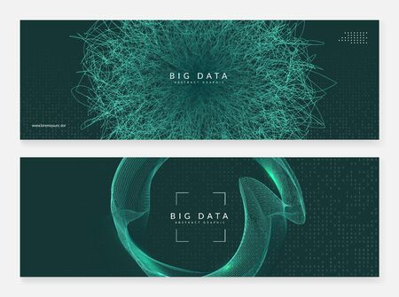 Abstract tech visuals. Digital technology background. Artificial intelligence, deep learning and big data concept for networking template. Partical abstract tech visuals backdrop.