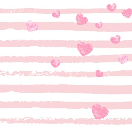 Pink glitter confetti with hearts on pink stripes. Falling sequins with glossy sparkles. Design with pink glitter confetti for party invitation, event banner, flyer, birthday card.
