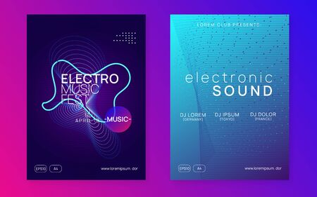 Dj party. Geometric discotheque cover set. Dynamic fluid shape and line. Neon dj party flyer. Electro dance music. Techno trance. Electronic sound event. Club fest poster.