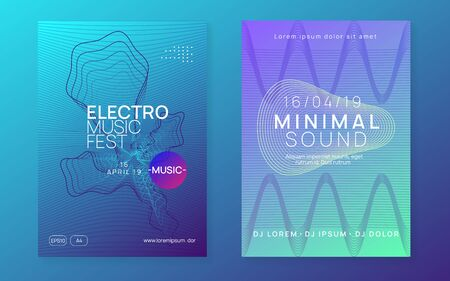 Electronic fest. Commercial discotheque magazine set. Dynamic fluid shape and line. Neon electronic fest flyer. Electro dance music. Trance sound. Club event poster. Techno dj party.