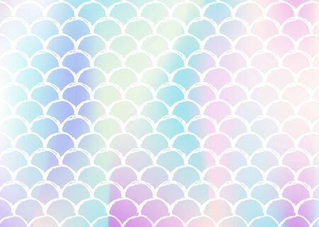 Holographic scale background with gradient mermaid. Bright color transitions. Fish tail banner and invitation. Underwater and sea pattern for girlie party. Spectrum backdrop with holographic scale.