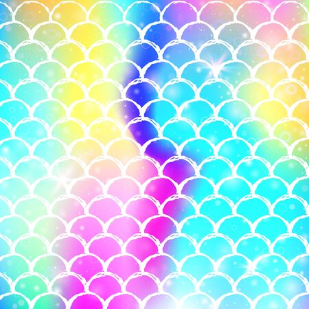 Princess mermaid background with kawaii rainbow scales pattern. Fish tail banner with magic sparkles and stars. Sea fantasy invitation for girlie party. Hipster princess mermaid backdrop.