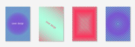 Minimalist trendy cover. Simple certificate, report, patent, invitation mockup. Red and green. Minimalist trendy cover with line geometric elements and shapes.
