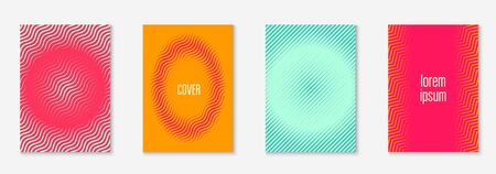 Line geometric elements. Futuristic book, page, presentation, flyer layout. Orange and green. Line geometric elements on minimalist trendy cover template.