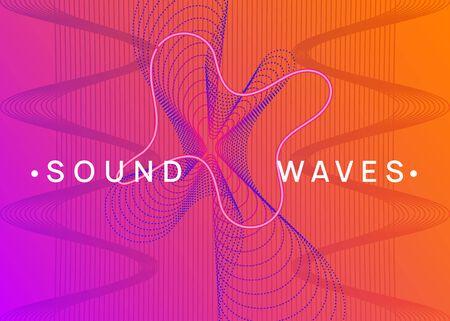 Neon flyer. Digital concert magazine concept. Dynamic fluid shape and line. Neon flyer trance event. Techno dj party. Electro dance music. Electronic sound. Club fest poster. Illusztráció