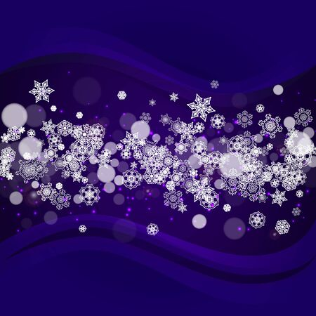 Snowflake banner with ultra violet snow. New Year backdrop. Winter border for gift coupons, vouchers, ads, party events. Christmas trendy background. Holiday banner with snowflake banner Illusztráció