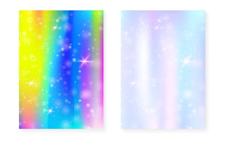 Rainbow background with kawaii princess gradient. Magic unicorn hologram. Holographic fairy set. Vibrant fantasy cover. Rainbow background with sparkles and stars for cute girl party invitation. Illusztráció