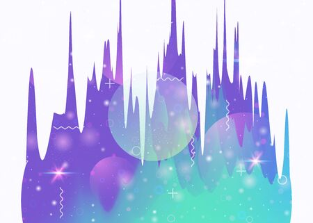 Abstract landscape with holographic cosmos and future universe background. Futuristic gradient and shape. 3d fluid. Fluorescent mountain silhouette with wavy glitch. Memphis abstract landscape.