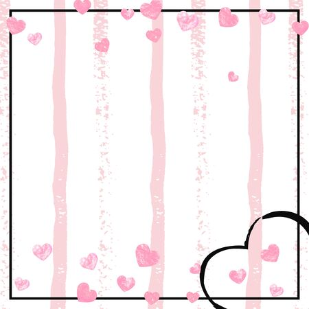 Pink glitter hearts confetti  on white stripes. Shiny falling sequins with shimmer and sparkles. Template with pink glitter hearts for party invitation, banner, greeting card, bridal shower. Illusztráció