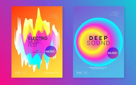 Music poster set. Fluid holographic gradient shape and line. Electronic sound. Night dance lifestyle holiday. Wavy trance event invitation template. Summer fest flyer and music poster.