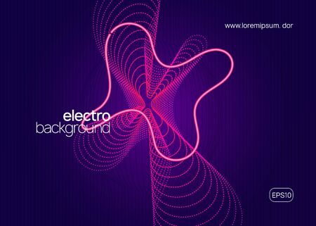 Techno event. Dynamic fluid shape and line. Modern show brochure concept. Neon techno event flyer. Electro dance music. Electronic sound. Trance fest poster. Club dj party.