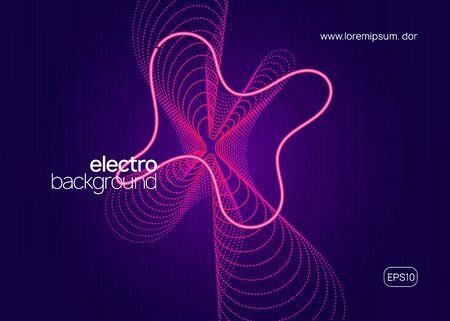 Techno-Event. Dynamisch fließende Form und Linie. Modernes Showbroschürenkonzept. Neon-Techno-Event-Flyer. Electro-Dance-Musik. Elektronischer Klang. Trance-Fest-Plakat. Club-DJ-Party.