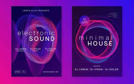 Electronic event. Dynamic fluid shape and line. Creative show invitation set. Neon electronic event. Electro dance dj. Trance sound. Club fest poster. Techno music party flyer.