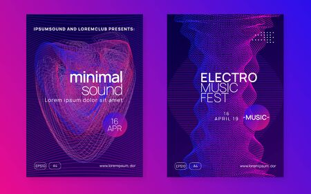 Music poster. Dynamic fluid shape and line. Bright show invitation set. Neon music poster. Electro dance dj. Electronic sound fest. Club event flyer. Techno trance party.