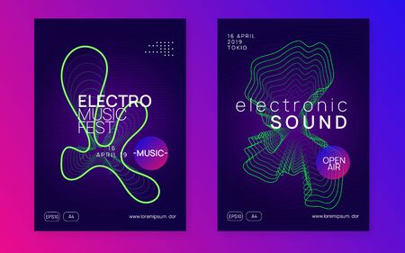 Trance event. Trendy concert banner set. Dynamic fluid shape and line. Neon trance event flyer. Techno dj party. Electro dance music. Electronic sound. Club fest poster.
