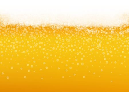 Splash beer. Background for craft lager. Oktoberfest foam. Cold pint of ale with realistic white bubbles. Cool liquid drink for pab flyer layout. Yellow glass with splash beer. Ilustrace