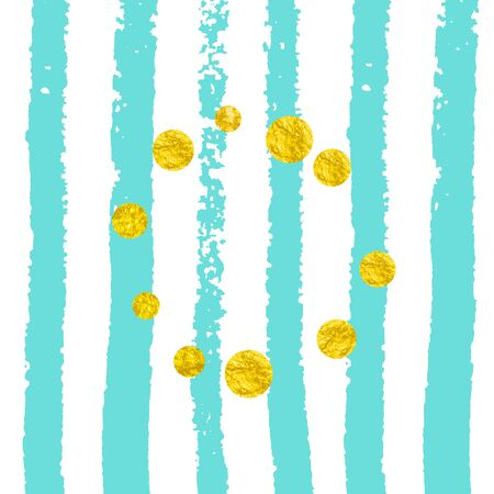 Gold glitter confetti with dots on turquoise stripes. Falling sequins with glossy sparkles. Template with gold glitter confetti for greeting card, bridal shower and save the date invite.