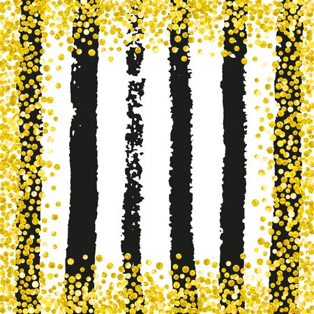 Gold glitter confetti with dots on black stripes. Shiny random falling sequins with sparkles. Template with gold glitter confetti for greeting card, bridal shower and save the date invite. Ilustrace