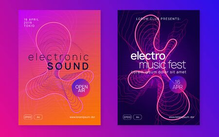 Gradient party flyer. Futuristic discotheque magazine set. Dynamic fluid shape and line. Gradient party flyer. Electro dance music. Electronic trance sound. Club dj poster. Techno event.
