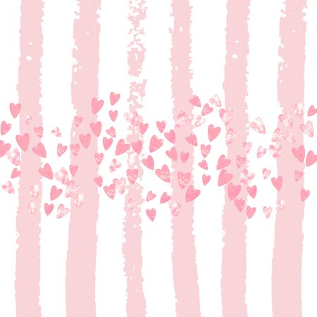 Wedding glitter confetti with hearts on pink stripes. Falling sequins with metallic shimmer. Design with pink wedding glitter for party invitation, banner, greeting card, bridal shower.