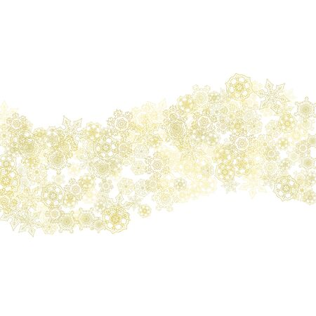 Glitter snowflakes frame on white background. Winter window. Shiny Christmas and New Year frame for gift certificate, ads, banners, flyers. Falling snow with golden glitter snowflakes for party invite Ilustrace