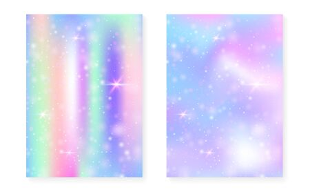 Unicorn background with magic gradient. Princess rainbow hologram. Holographic fairy set. Bright fantasy cover. Unicorn background with sparkles and stars for cute girl party invitation. Иллюстрация