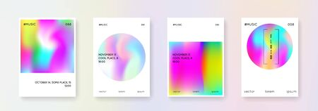 Holographic shape set. Abstract backgrounds. Rainbow holographic shape with gradient mesh. 90s, 80s retro style. Pearlescent graphic template for brochure, banner, wallpaper, mobile screen Иллюстрация