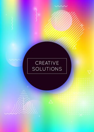 Memphis gradient background with liquid shapes. Dynamic holographic fluid with bauhaus elements. Graphic template for flyer, ui, magazine, poster, banner and app. Multicolor memphis gradient. Banque d'images - 138469664