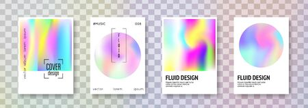 Holographic shape set. Abstract backgrounds. Multicolor holographic shape with gradient mesh. 90s, 80s retro style. Iridescent graphic template for placard, presentation, banner, brochure. Иллюстрация