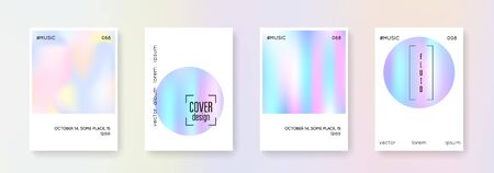 Fluid poster set. Abstract backgrounds. Stylish fluid poster with gradient mesh. 90s, 80s retro style. Pearlescent graphic template for brochure, banner, wallpaper, mobile screen Иллюстрация